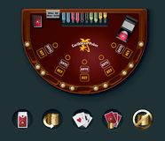 Vector poker table layout Royalty Free Stock Images