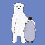 Vector polar bear and penguin Stock Image