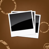 Vector polaroids. Isolated on a brown background Stock Photos