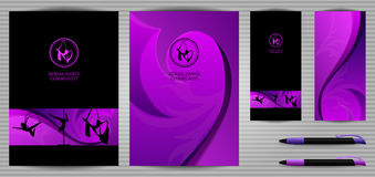 Vector Pole Dance and Aerial Sports School Corporate Identity and Stationery Templates Set. Document, Book. Vector Purple and Black Pole Dance and Aerial Sports Royalty Free Stock Photo