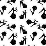 Vector pole dance sexy shoes. High heels pattern for striptease, Striped black yellow exotic dancer boots. Silhouette Stock Photo