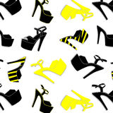 Vector pole dance sexy shoes. High heels pattern for striptease, Striped black yellow exotic dancer boots. Silhouette Stock Image