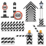 Vector Police Barrier Icons Royalty Free Stock Photography
