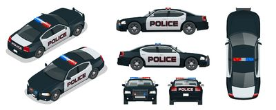 Vector Police car with rooftop flashing lights, a siren and emblems. Template isolated illustration. View front, rear, side, top and isometric. Change the stock illustration