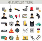 Vector police security and crime icons set. Infographics elements. web bank safety. Stock Photos