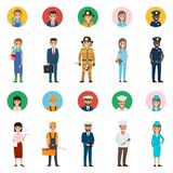 Concept of Professions. Full-length and Round Icon. Vector of policeman and lifesaver, mariner and cook with ladle, stewardess and doctor, manager and builder royalty free illustration