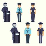 Vector - Policeman, policewoman, Special Forces soldier Cute happy police man and woman agents working in uniform Vector officer i Stock Photography