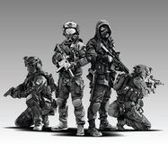 Vector Policeman Tactical Shoot Illustration. Armed police military preparing to shoot with automatic rifle