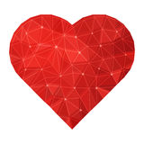 Vector Poligonal Ruby Heart. Vector polygonal geometric ruby red heart illustration. Isolated on white Stock Images