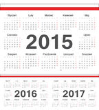 Vector Polish circle calendars 2015, 2016, 2017. Week starts from Monday royalty free illustration