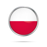 Vector Polish flag Button. Poland flag in glass button style. Royalty Free Stock Images