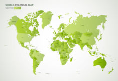 Vector political map with the names of all countries in green gradient color, vector illustration. royalty free illustration