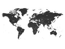 Vector political map of World with state name labeling.  Stock Images