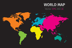Vector Political World map using different colors on each continent. Vector World map using different colors on each continent, using NASA map for reference Royalty Free Stock Photo