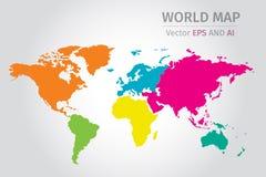 Vector Politieke Wereldkaart die verschillende kleuren op elk continent gebruiken Royalty-vrije Stock Afbeeldingen
