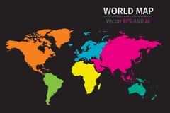 Vector Politieke Wereldkaart die verschillende kleuren op elk continent gebruiken Royalty-vrije Stock Foto