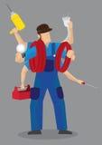 Vector polivalente ocupado Illu de Worker Cartoon Character de la manitas stock de ilustración