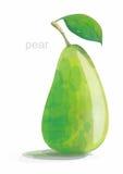 Vector polivinílico bajo de la pera verde En un fondo blanco Fotos de archivo