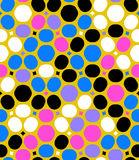 Vector polka dot pattern. Ditsy vector polka dot pattern with random circles in bright multiple colors on gold background. Seamless texture in vintage 1960s Royalty Free Stock Photography