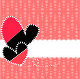 Vector of polka dots on a pink background with two hearts Stock Photography