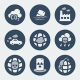 Vector pollution icons set Stock Image