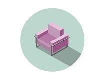 Vector a poltrona cor-de-rosa moderna isométrica, elemento liso do design de interiores 3d Fotografia de Stock