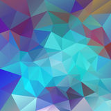 Vector polygon background with irregular tessellations pattern - triangular design in neon colors. Blue, turquiose, red, violet Stock Photo