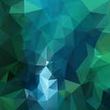 Vector polygon background pattern - triangular geometric design in dark emerald color - green and blue royalty free illustration