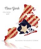 Vector Polygon Map of New York Stock Photo