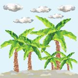 Vector polygon palms forest and clouds Stock Image