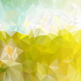 Vector polygonal background triangular design in spring colors - green sunny meadow. Vector polygonal background with irregular tessellations pattern Royalty Free Stock Photos