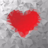 Vector polygonal background triangular valentine red heart Stock Photography