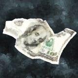 Vector polygonal crumpled one hundred dollars. Vector polygonal dollars concept. Crumpled one hundred dollars illustration Stock Photos