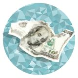 Vector polygonal crumpled one hundred dollars. Vector polygonal dollars concept. Crumpled one hundred dollars illustration Royalty Free Stock Photography