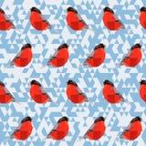 Vector polygonal geometric bullfinch seamless pattern Stock Image