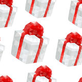Vector polygonal gift boxes seamless pattern Royalty Free Stock Photo