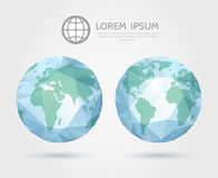 Vector polygonal globe. 3D triangular World map of Royalty Free Stock Image