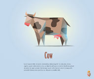 Vector polygonal illustration of black and white cow with milk Stock Image