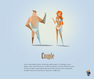 Vector polygonal illustration of couple, naked people, modern low poly object, man and woman, girl, boy, origami style. Human Stock Image