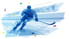 Hockey player on the run. Vector polygonal illustration of male hockey player running at the stadium royalty free illustration