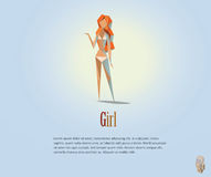 Vector polygonal illustration of naked woman, modern low poly object, origami style girl character Stock Photos