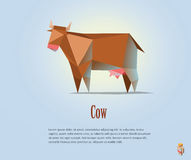 Vector polygonal illustration of red cow with milk. Modern dairy products icon, low poly style Stock Photo