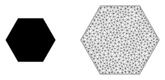 Vector Polygonal Mesh Filled Hexagon and Flat Icon. Polygonal mesh filled hexagon and flat icon are isolated on a white background. Abstract black mesh lines vector illustration