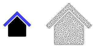 Vector Polygonal Mesh House and Flat Icon vector illustration