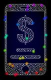 Vector Polygonal Mesh Mobile Dollar Account with Rainbow Colored Light Spots royalty free illustration