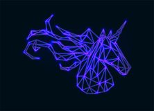 Vector polygonal neon unicorn. Royalty Free Stock Photos