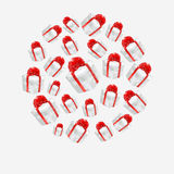 Vector polygonal red gift boxes made in a circle Stock Images