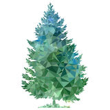 Vector polygonal silhouette of fir tree. Vector polygonal silhouette of of fir deciduous tree, triangulation of nature element Royalty Free Stock Photos