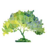 Vector polygonal silhouette of green tree. Vector polygonal silhouette of of green deciduous tree, triangulation of nature element Royalty Free Stock Images