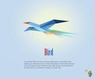 Vector polygonale Illustration des Fliegenvogels, moderne Origamiartikone, niedriger Polygegenstand Stockfotos